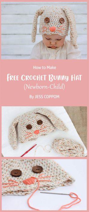 Free Crochet Bunny Hat Pattern (Newborn-Child) By JESS COPPOM