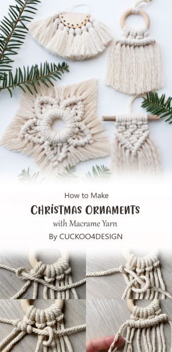 How to make Christmas Ornaments with Macrame Yarn By CUCKOO4DESIGN
