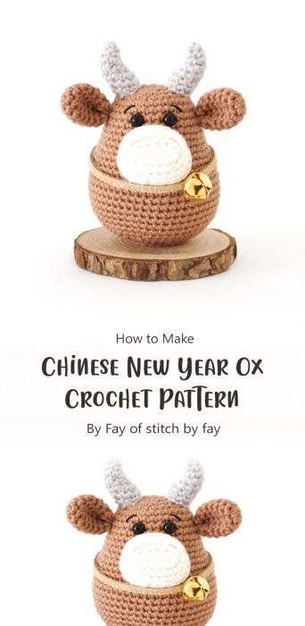 Chinese New Year Ox Crochet Pattern By Fay of stitch by fay