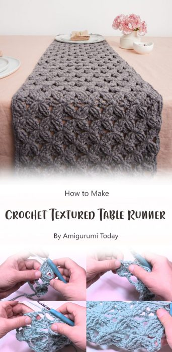 Crochet Textured Table Runner By The Crochet Crowd (Design by yarnspirations)