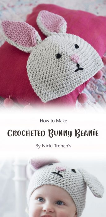 Crocheted Bunny Beanie By Nicki Trench's