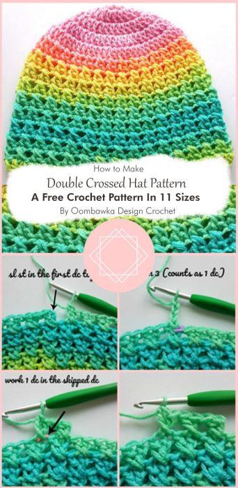 Double Crossed Hat Pattern. A Free Crochet Pattern In 11 Sizes By Oombawka Design Crochet