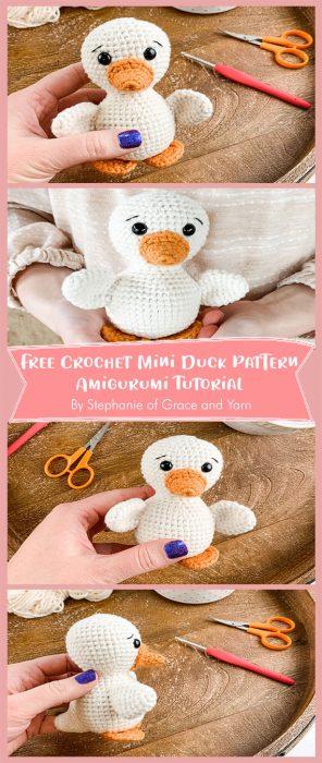 Free Crochet Mini Duck Pattern - Amigurumi Tutorial By Stephanie of Grace and Yarn