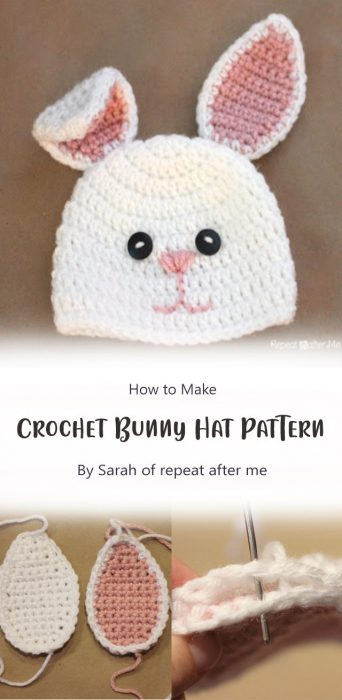 Crochet Bunny Hat Pattern By Sarah of repeat after me