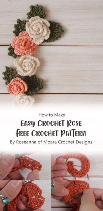 Easy Crochet Rose Free Crochet Pattern By Roseanna of Moara Crochet Designs