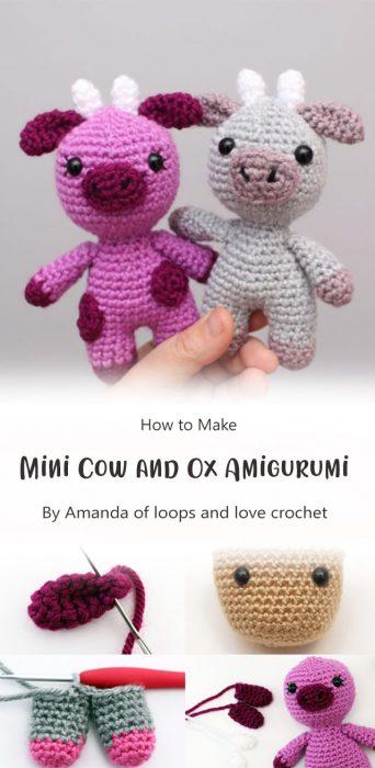 Mini Cow and Ox Amigurumi By Amanda of loops and love crochet
