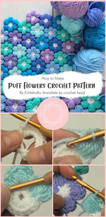 Puff Flowers Crochet Pattern By Echtstudio (translate by crochet beja)