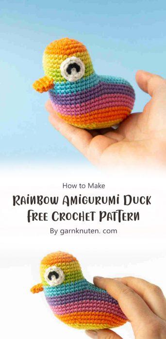 Rainbow Amigurumi Duck Free Crochet Pattern By garnknuten. com