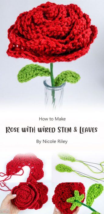 Rose with wired Stem & Leaves By Nicole Riley
