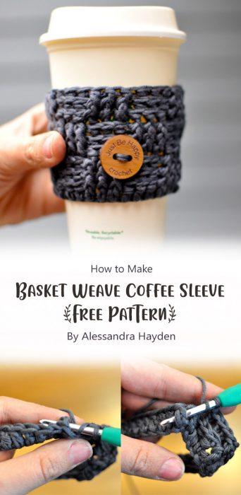 Basket Weave Coffee Sleeve {Free Pattern} By Alessandra Hayden