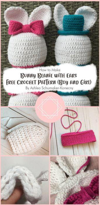 Bunny Beanie with Ears Free Crochet Pattern (Boy and Girl) By Ashlea Schumaker-Konecny