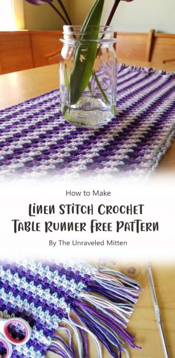 Linen Stitch Crochet Table Runner: Free Pattern By The Unraveled Mitten